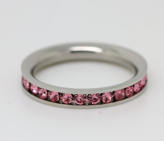Mariage - Full Eternity ring - stacking ring in white gold or titanium with stunning Pink Sapphire gemstones - engagement  - wedding band
