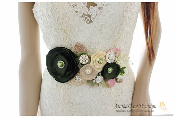 Hochzeit - READY TO SHIP Bridal Sash / Country Wedding Belt in Hay Green, Blush Pink, Champagne and Ivory with Brooches, Glass Beads Handmade Flowers