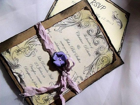 زفاف - Lavender / purple Wedding Invitation Suite/ Vintage inspired