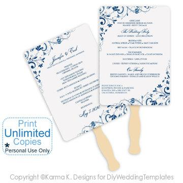 Diy Wedding Fan Program Template - DOWNLOAD Instantly - EDITABLE ...