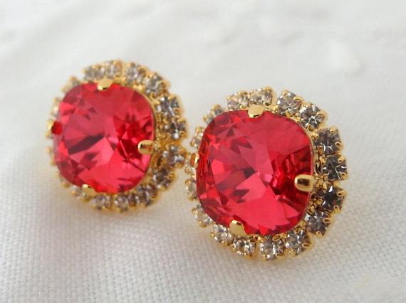 زفاف - Red Swarovski stud earrings, Bridal earrings, Pink rhinestone stud earrings, Bridesmaid jewelry, Indian Pink , Crystal stud earrings,