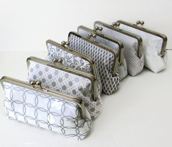 Wedding - Silver and white Bridesmaid Clutch, Wedding  Accessory, bridal clutch, party purse