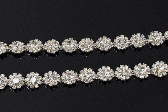 Mariage - 1 yard Crystal trim, rhinestone trim, Rhinestone Applique, Bridal Applique, Sash Applique,DIY headband, bouquet handle, DIY wedding - WB73