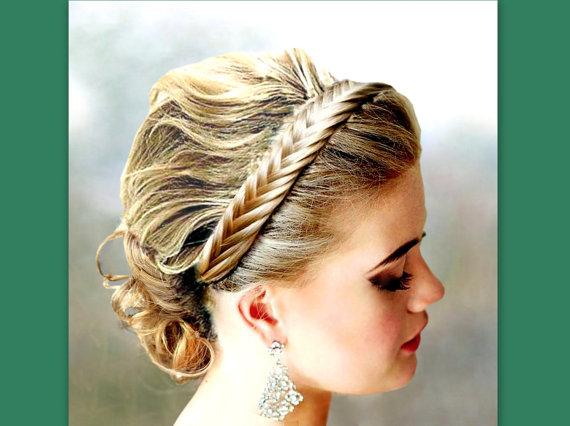 Wedding - fishtail herringbone hair braided headband elastic headband braid plait wedding bridal hairband women hair accessory hairpiece diadem