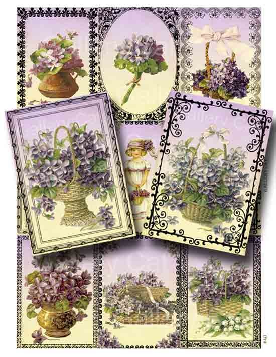 Wedding - Victorian Violets Digital Collage Sheet Printable Instant Download Original Whimsical Altered Art by GalleryCat CS40