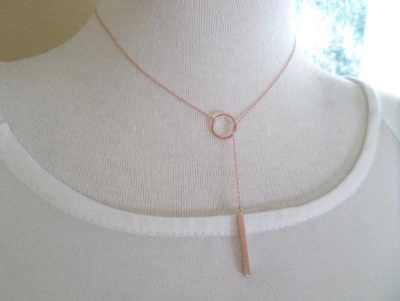 Rose Gold Bar Lariat Necklace Drop Necklace Y Necklace