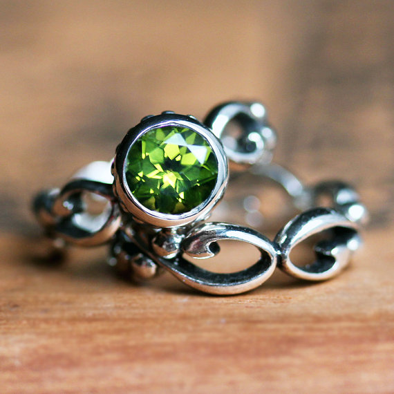 Hochzeit - Peridot engagement ring set - bezel solitaire - recycled sterling silver - ethical engagement - cocktail filigree wedding band- Wrought ring