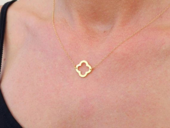 Simple Gold Necklace Gold Clover Necklace Gold Four Leaf Clover