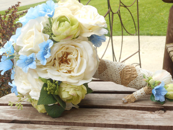 Rustic Wedding Bouquet Ivory Blue And Green Silk Bridal Country Garden Flowers