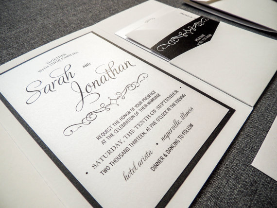 Hochzeit - Enchanting Vintage Wedding Invitation shown in Black, White and Silver / Grey, Pocketfold Style, 1 Accent Layer, v3 - SAMPLE