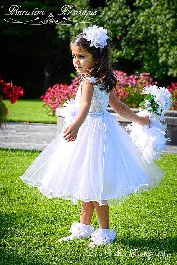 Hochzeit - Flower Girl  Dress Communion Dress WHITE  Sequin Double Mesh Wedding, Communion  Girls Toddler Flower Girl  Dress (ets0155wt)