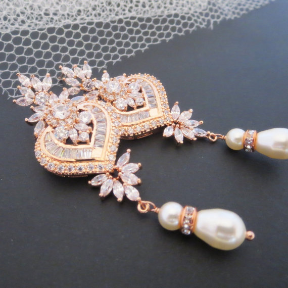 Rose Gold Bridal Earrings Chandelier Crystal Jewelry Wedding Pearl Emma