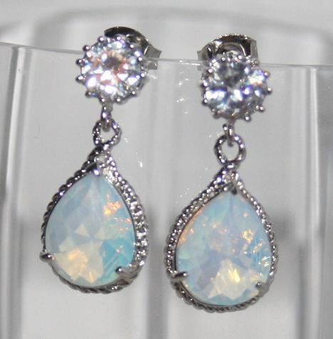 Mariage - Statement Rhinestone & Opal glass Pear drop Earrings, Wedding Statement Jewelry, Cubic Zirconia White Opal Earrings, October Birthstone