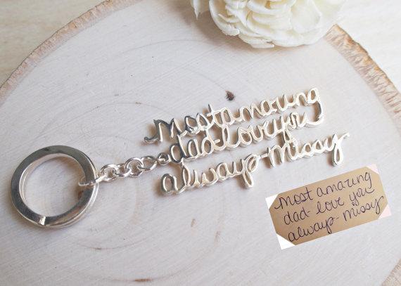 Hochzeit - SALE Signature Keychain-Keychain sterling silver-Memorial signature keychain-Handwriting Keychain-Gift for Him-Groomsmen Gift-FATHER GIFT