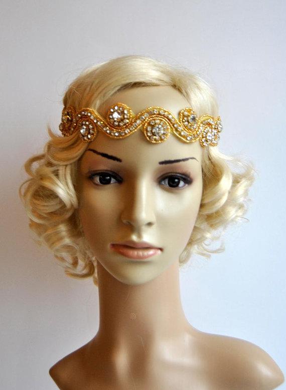 2cfdf50e7 Gold Rhinestone Headband, Wedding Headband, Crystal Headband, Wedding  Headpiece, Halo Bridal Headpiece, 1920s Flapper headband