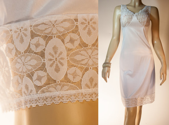 Hochzeit - As new Schiesser glossy silky soft white Enka Comfort nylon and luxurious sheer lace bodice detail 70's vintage full slip petticoat - PL853