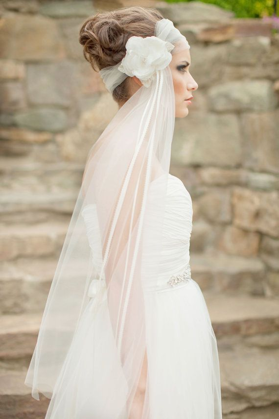 Hochzeit - Silk Flower Veil, Fingertip Veil, Floral Headpiece, Bridal Fascinator, Bridal Veil, Headwrap Veil, 1920's, Art Deco - Rosalyn MADE TO ORDER