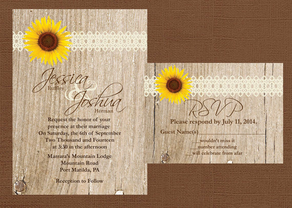 زفاف - Rustic Wedding Invitation, Sunflower Wedding Invitation, Lace Wedding Invitation, Western Wedding Invitation, Wood Wedding Invitation,