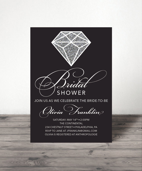 Düğün - Diamond Bridal Shower Invite - Wedding Shower Invite - Printable Shower Invitation - Bling - Glitter Bridal Shower - Diamond Ring