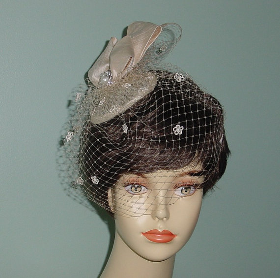 Mariage - Wedding Bow Headpiece Cocktail Hat Birdcage Veil  French Veiling Champagne or Ivory Bridal Accessory
