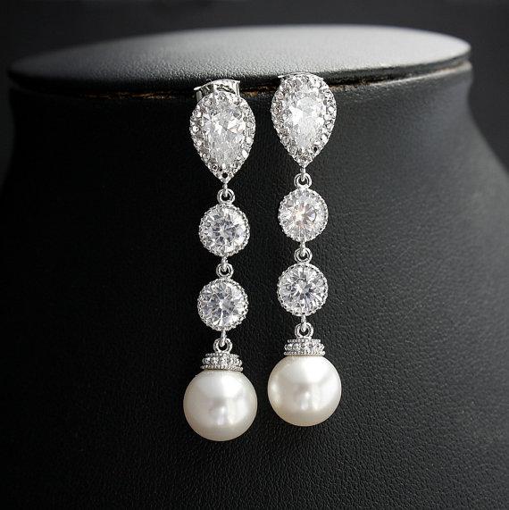 Wedding - Wedding Pearl Jewelry Bridal Earrings Cubic Zirconia White Pearl Earrings Silver Posts Wedding Earrings