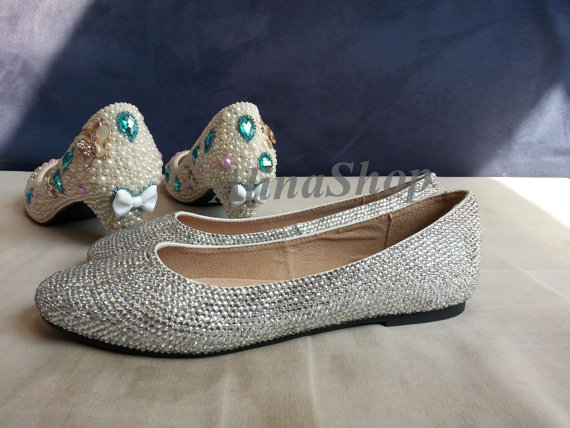 Flat Wedding Shoes Open Toe Flat Bridal Shoes Wedding Flats Clean Crystal Flat Bling Shoe Bridal