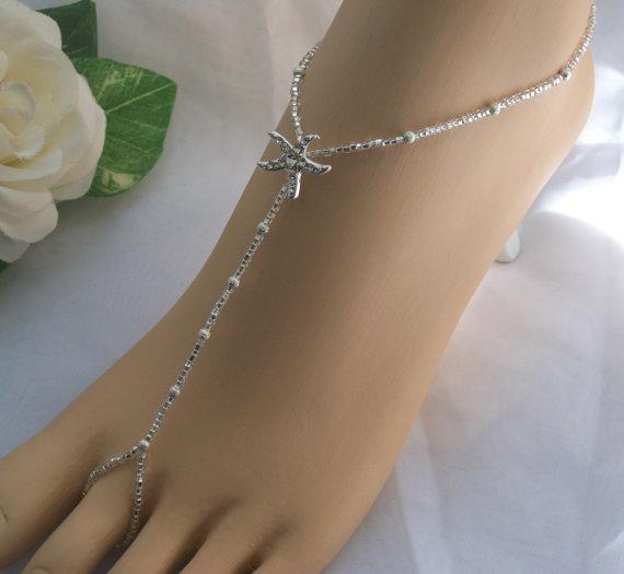 Mariage - Silver Stardust Rhinestone Starfish Barefoot Sandal - Foot Jewelry