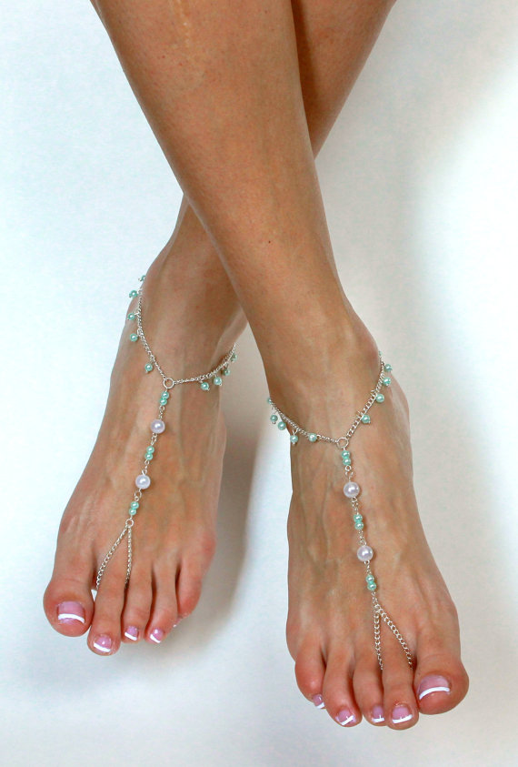Mariage - Light Blue Bridal Barefoot Sandals Wedding Jewelry Wedding Sandals Beach Wedding Anklet Foot Jewelry for the Bride Beach Wedding Jewelry