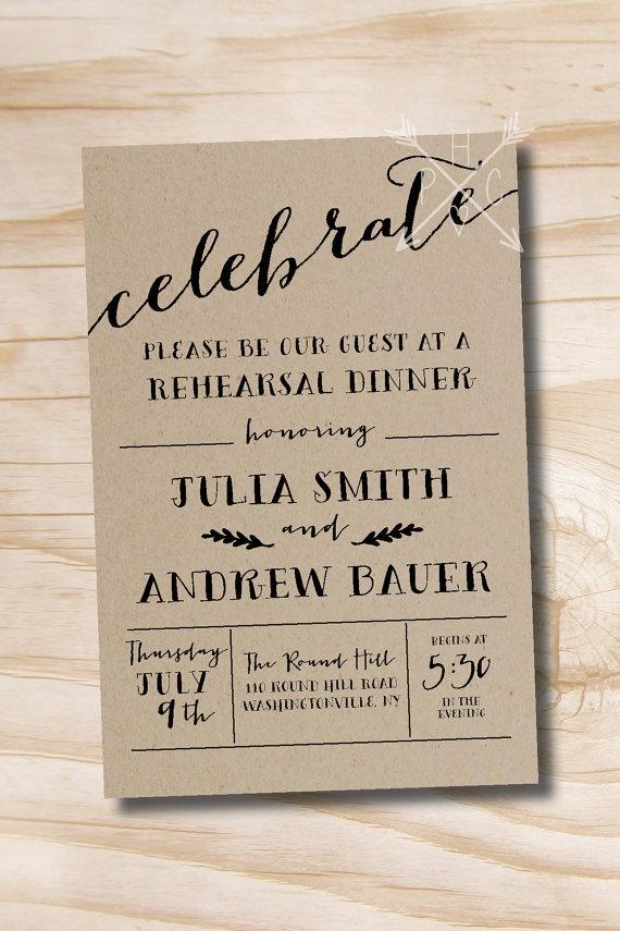 Wedding - Celebrate Rustic Rehearsal Dinner Invitation - Printable Invitation