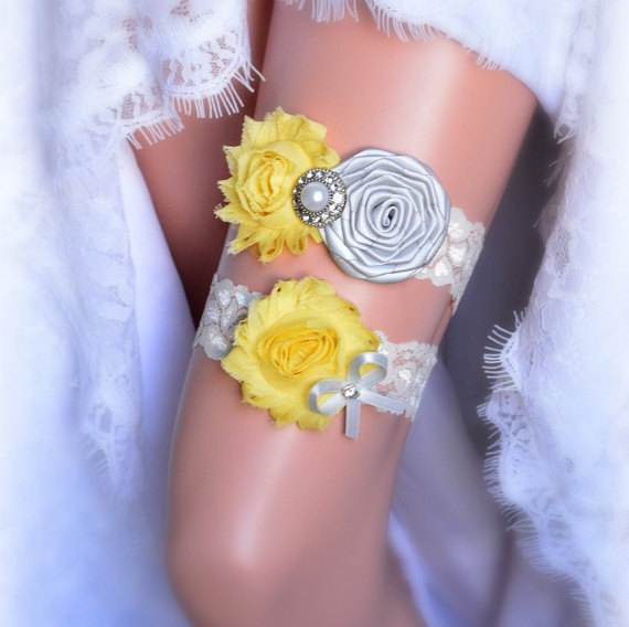Gray Yellow Rustic Bridal Garter Belt Wedding Set Vintage