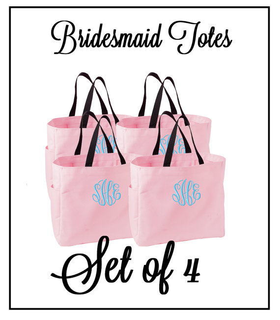 Hochzeit - Monogrammed Bridesmaid Tote Bags - Set of 4 - Mix and Match Colors