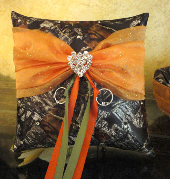 Hochzeit - Wedding Ring Bearer Pillow Mossy Oak Ribbon Weave with Swarovski Crystals & Heart Decoration