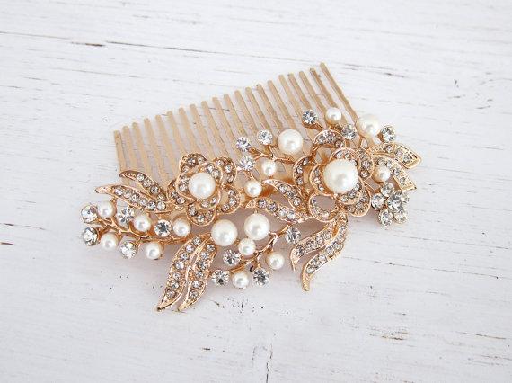 Rose Gold Pearl Crystal Hair Comb Vintage Bridal Haircomb 1920s Vine Wedding Zahra