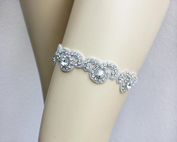 Свадьба - SIERRA - Keepsake Garter, Ivory Wedding Garter, Vintage Garter, Rhinestone Crystal Bridal Garters