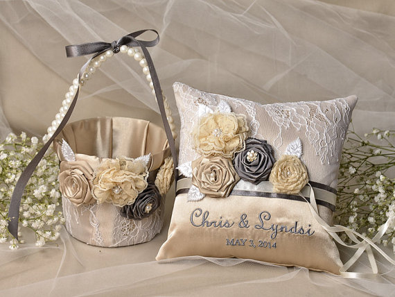 Свадьба - Flower Girl Basket & Ring Bearer Pillow Set, Champagn Satin nad cream Lace, Embriodery Names, Flowers and Pearls