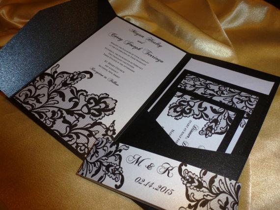 """زفاف - Lace Invitation , Black Wedding Invitation(sample) -""""  Black Lace """""""