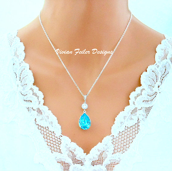 Mariage - Teal Wedding Necklace Teal Blue Cubic Zirconia Light Turquoise Bridal Bridesmaid Gift Wedding Jewelry Sterling Silver Wedding Jewellery