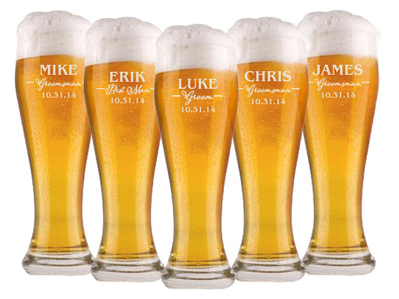 Wedding - Groomsmen Gift, 8 Personalized Beer Glasses, Custom Engraved Pilsner Glass, Wedding Party Gifts, Gifts for Groomsmen, 16oz Glasses