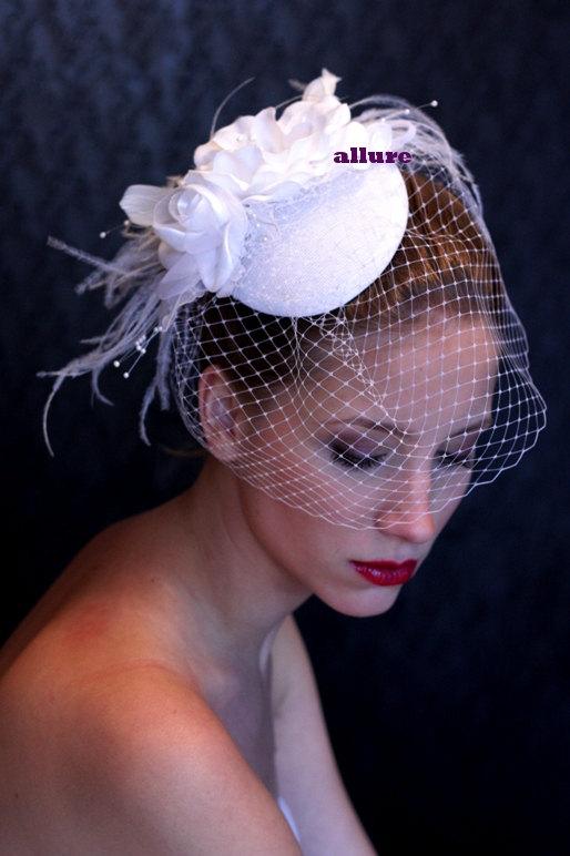 Свадьба - WEDDING HAT birdcage veil beautifull headpiece, bridal hat