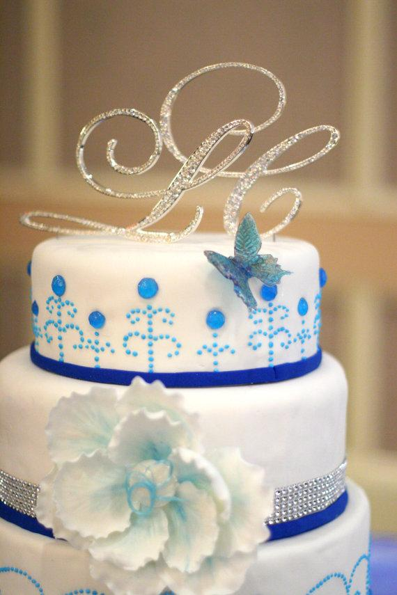 زفاف - TWO INITIALS from A-Z Script Silver Metal Wedding Cake Toppers with Fine Set-In Rhinestones