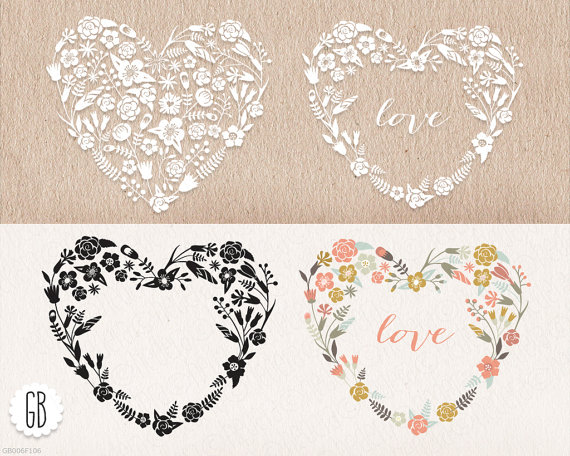 Свадьба - Floral heart shaped wreaths, papel picado, clip art, vector, INSTANT DOWNLOAD