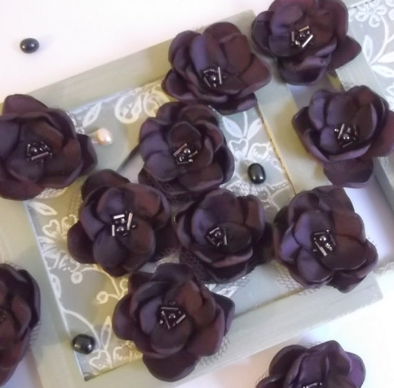 Свадьба - Aubergine Eggplant fabric Flowers in handmade Weddings Bridesmaids hair shoe clip dress accessory, Flower Girls alligator clip Birthday gift