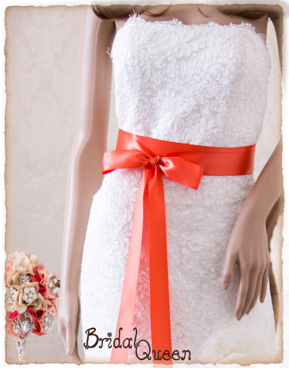 Свадьба - CORAL Bridal Sash, Satin Ribbon Sash, Wedding Sash, Satin Bridal Sash, Bridesmaids Sash, Bridal Belt