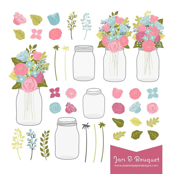 Flower Bouquet Mason Jar Digital Clip Art Graphics For Wedding Invites Scrapbooking Photography DIY