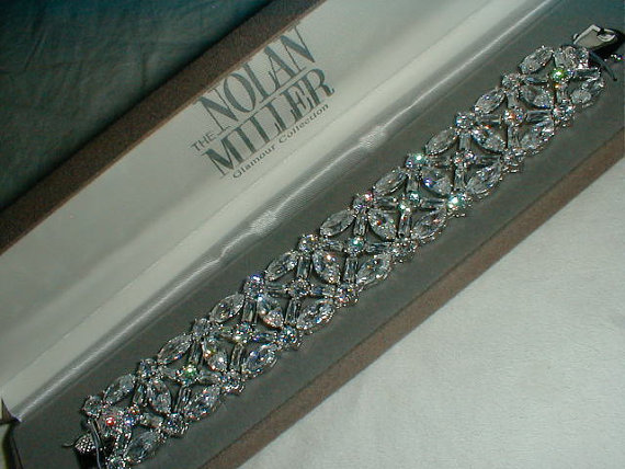 Свадьба - nolan miller cz crystal bracelet nm wedding jewelry wide bracelet bridal bracelet sparkling cz's bracelet award worthy bracelet vtg bracelet