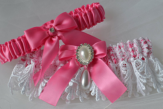 Свадьба - Wedding Garter Set in Hot Pink with White Elegant Venise Lace