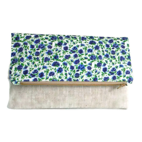 Mariage - Liberty of London and Pure Linen - Foldover Clutch - Bridesmaid - Wedding - Roses