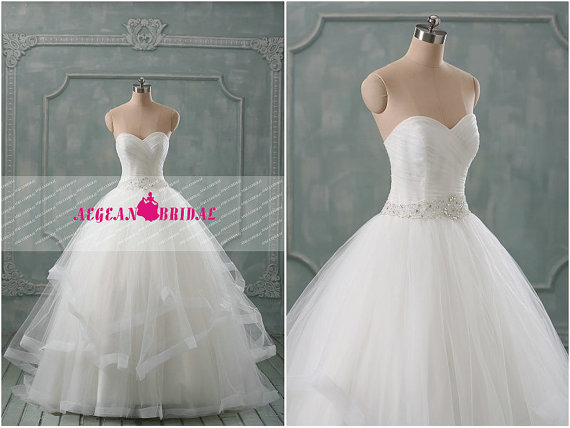 Wedding - RW298 Beaded Wedding Dress Crystal Puffy Bridal Dress Long Bridal Gown Long Sequined  Wedding Gown Sweetheart Rhinestone Ruffled Bridal Dres