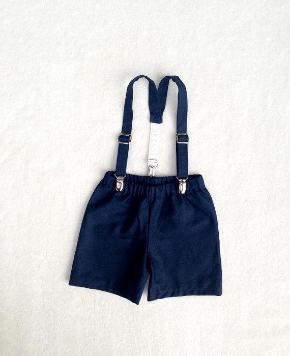 زفاف - Suspender Shorts, Navy Linen Cotton, Navy Ring Bearer, Ring Boy Outfit, Ring bearer set, navy, linen cotton, toddler boy, baby boy outfit