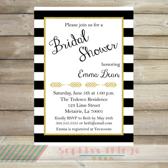 Wedding - Black and White Stripe Gold Glitter Bridal Shower Invitation, Rehearsal Dinner, Baby Shower, Birthday Party, Sweet Sixteen, Engagement Party
